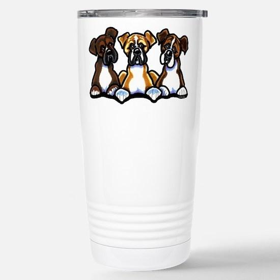 Three Boxer Lover Stainless Steel Travel Mug