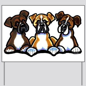 Three Boxer Lover Yard Sign