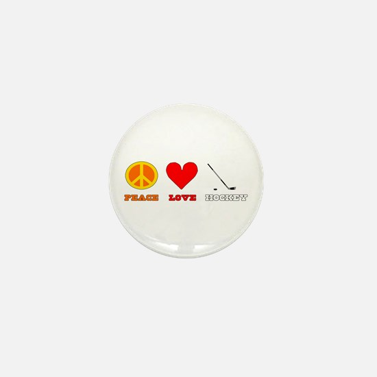 Peace Love Hockey Mini Button