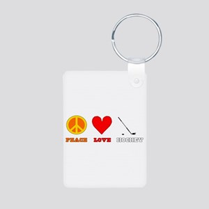 Peace Love Hockey Aluminum Photo Keychain