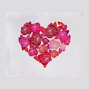 Rose heart Throw Blanket