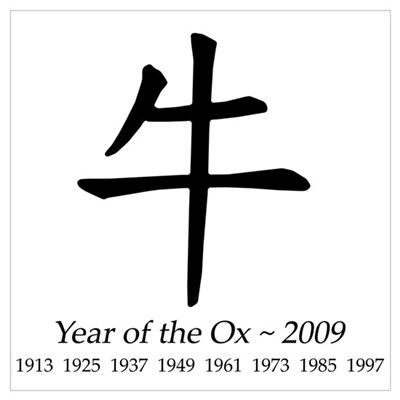 Year Of The Ox Chinese Character Poster