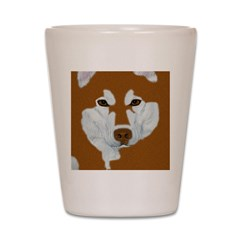 Red & White Malamute Shot Glass