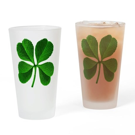 Lucky 4 Leaf Clover Drinking Glass