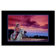 Warrior At Sunset Poster
