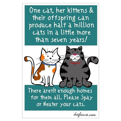 Half a Million Cats - Spay Neuter Prin Poster