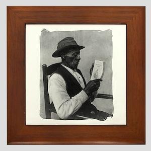 Old Man Reading Framed Tile