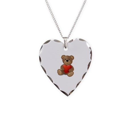 Cute teddybear Necklace Heart Charm