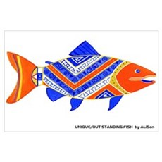Colorful Chinook Salmon Poster