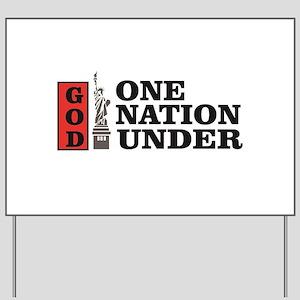 one nation under god liberty Yard Sign