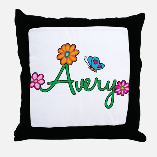 Avery Flowers Throw Pillow