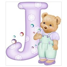 Teddy Alphabet J Purple Poster