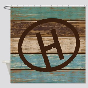 H Monogram Branding Iron Shower Curtain