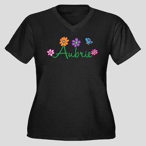 Aubrie Flowers Women's Plus Size V-Neck Dark T-Shi