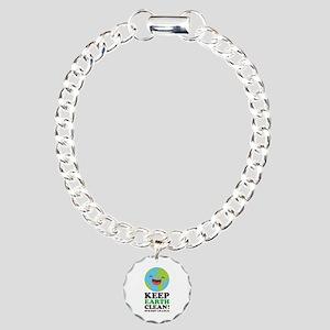 Keep Earth Clean Charm Bracelet, One Charm