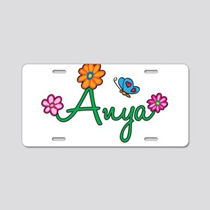 Anya Flowers Aluminum License Plate