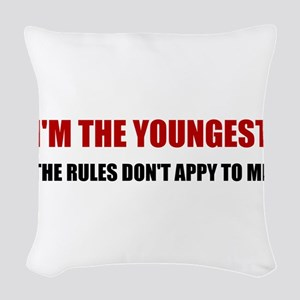 Youngest Rules Don't Apply Woven Throw Pillow