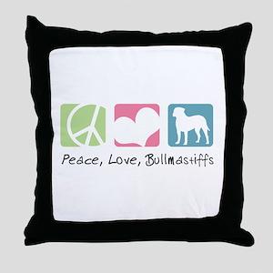 Peace, Love, Bullmastiffs Throw Pillow