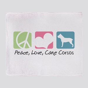 Peace, Love, Cane Corsos Throw Blanket