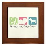 Peace, Love, Cane Corsos Framed Tile