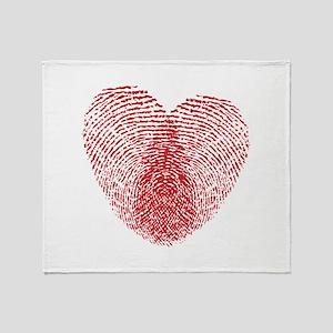 fingerprint heart Throw Blanket