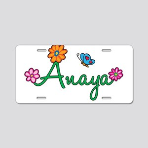 Anaya Flowers Aluminum License Plate