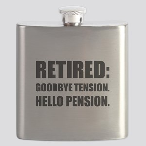 Retired Goodbye Tension Hello Pension Flask