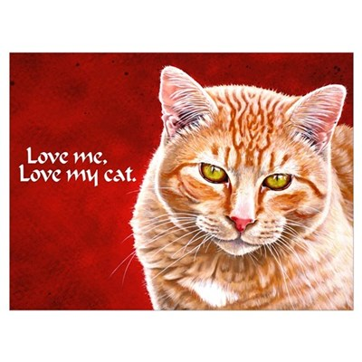 Orange Tabby LOVE MY CAT Framed Print