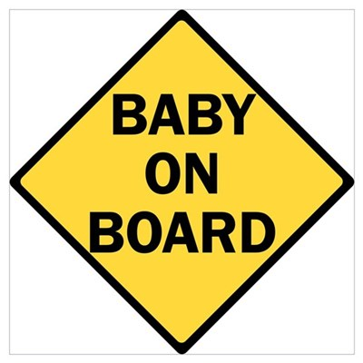 baby on board yellow Poster