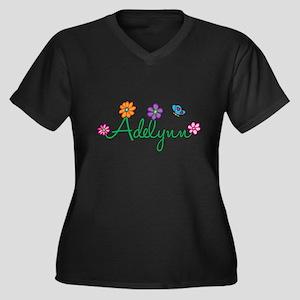 Adelynn Flowers Women's Plus Size V-Neck Dark T-Sh