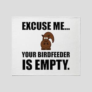Squirrel Birdfeeder Empty Throw Blanket