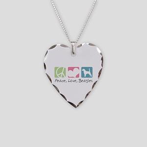 Peace, Love, Beagles Necklace Heart Charm