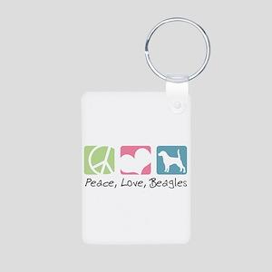 Peace, Love, Beagles Aluminum Photo Keychain