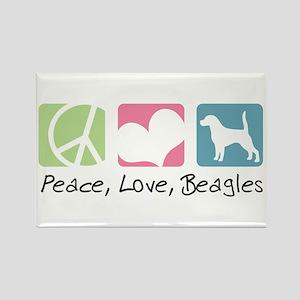 Peace, Love, Beagles Rectangle Magnet