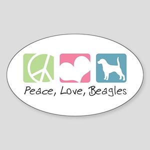 Peace, Love, Beagles Sticker (Oval)