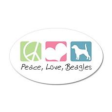 Peace, Love, Beagles 22x14 Oval Wall Peel