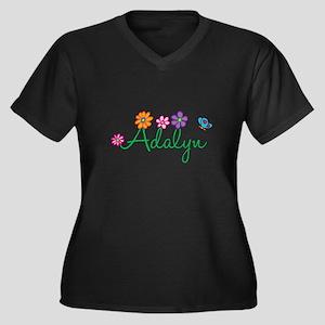 Adalyn Flowers Women's Plus Size V-Neck Dark T-Shi