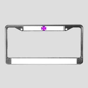 Pink and Purple Crosses License Plate Frame