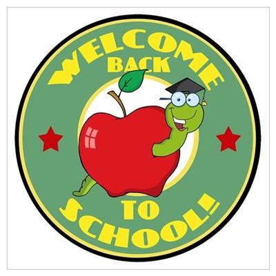 Welcome Back to School Worm Canvas Art