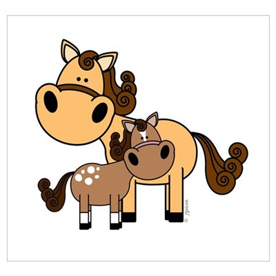 Mama and Baby Horse Poster