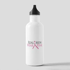 Real Men Wear Pink (Ribbon) Stainless Water Bottle
