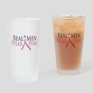 Real Men Wear Pink (Ribbon) Drinking Glass