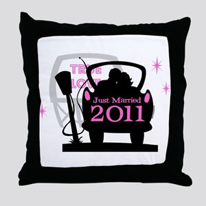 Drive In Newlyweds 2011 Throw Pillow