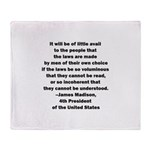 Quote of James Madison Throw Blanket