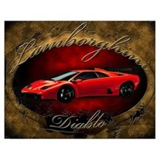 Red Lamborghini Diablo Poster