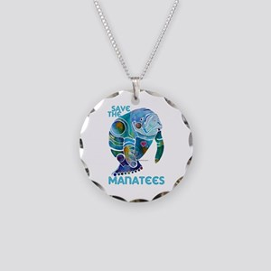 Save the Manatees Necklace Circle Charm