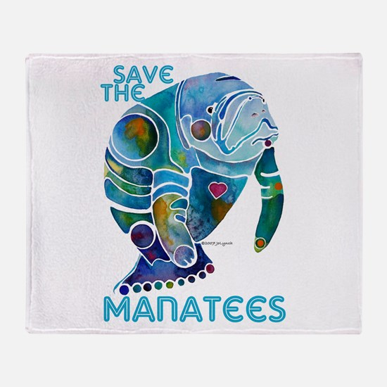 Save the Manatees Throw Blanket
