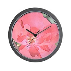Pink Rose Floral Wall Clock