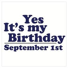 September 1st Birthday Poster