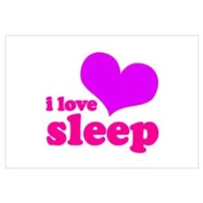 I Love Sleep (pink) Canvas Art